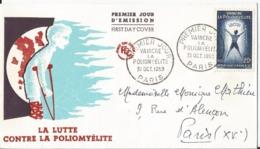 Enveloppe Premier Jour - FDC - 1959 - Vaincre La Poliomyélite - Paris - FDC