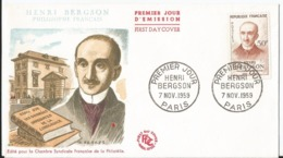 Enveloppe Premier Jour - FDC - 1959 - Henri Bergson  - Paris - FDC