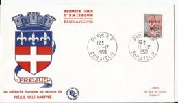 Enveloppe Premier Jour - FDC - 1959 - Journée Du Timbre - Fréjus Ville Martyre    - Paris - FDC
