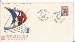 Enveloppe Premier Jour - FDC - 1959 - Journée Du Timbre - - FDC