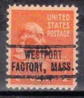 USA Precancel Vorausentwertung Preo, Locals Massachusetts, Westport Factory 736 - Vorausentwertungen