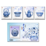 2019 Ancient Art Treasures Stamps & S/s- Blue & White Porcelain Stamps Teapot Tea Lotus Flower - History