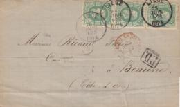 LETTRE BELGIQUE. 28 JUIN 1874. LIEGE POUR BEAUME. EN PD PAR ERQUELINES - Belgium