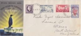 Polaire Néozélandais, N° 1 à 4 Obl. Scott Base Le 11 JA 57 Sur Grand FDC Trans-antarctic Exp. 56-58 - FDC