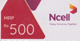 GSM MOBILE Rs.500 PHONE PREPAID USED MINI RECHARGE CARD NCELL MOBILE NEPAL - Nepal