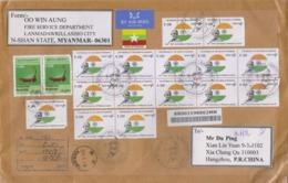 Myanmar 2019 FDC By Air Registered Mail/The 150th Birth Anniversary Of Mahatma Gandhi - Myanmar (Burma 1948-...)