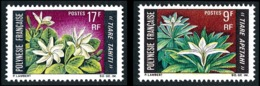 POLYNESIE 1969 - Yv. 64 Et 65 **   Cote= 7,30 EUR - Fleurs: Tiare Apetai Et Tahiti (2 Val.)  ..Réf.POL24317 - Ungebraucht