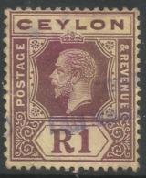 Ceylon. 1912-25 KGV. Mult Crown CA W/M. 1r Used. SG 315 - Ceylon (...-1947)