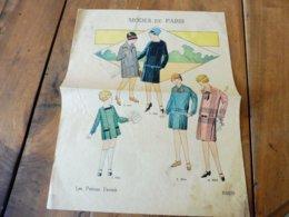Vers 1930  Double Feuille Libre (4 Pages)  MODES De PARIS - Les Patrons Favoris .pour Dames Et Fillettes - Vintage Clothes & Linen