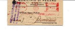 1944 EMA Affrancatura Meccanica Rossa Freistempel Comune Di Pesaro Su Modulo Anagrafico - Affrancature Meccaniche Rosse (EMA)