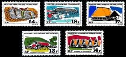 POLYNESIE 1970 - Yv. 72 73 74 75 76 **   Cote= 51,00 EUR - Grands Edifices (5 Val.)  ..Réf.POL24321 - Neufs