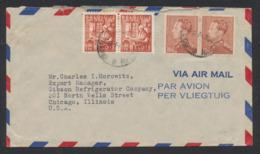Affranch. Mixte (Poortman / Exportation Belge) Sur Lettre Par Avion De Bruxelles Vers Chicago (Illinois, USA). - 1936-1951 Poortman