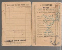 23276 - Carte De Vètements - Guerre De 1939-45