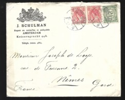 Pays Bas  Lettre  De 1912 D' Amsterdam Pour Nimes  Cachet D' Arrivée 07  12  1912 - Briefe U. Dokumente