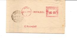 1941 EMA Affrancatura Meccanica Rossa Freistempel Roma I.N.F.A.D.E.L. Istituto Assistenza Dipendenti Enti Locali - Affrancature Meccaniche Rosse (EMA)