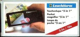 LEUCHTTURM - LOUPE De POCHE 5 En 1, Gr.2.5x/10x - Pinze, Lenti D'ingrandimento E Microscopi