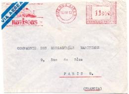 MARINE = BUENOS AIRES / ARGENTINE 1963 = EMA / FLAMME ROUGE Illustrée D'un PAQUEBOT / NAVISEAS - Lettres & Documents