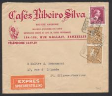 """Affranch. Mixte (Poortman / Col Ouvert) Sur Lettre Illustrée """"Cafés Ribeiro Silva"""" + Obl Télégraphe-téléphone Bruxelles - 1936-1951 Poortman"""