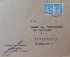 R1947/257 - TYPE IRIS - N°650 Sur ✉️ De BOUXWILLER à STRASBOURG Du 10/07/1945 - VARIETE ➤➤➤ Impression Défectueuse - France