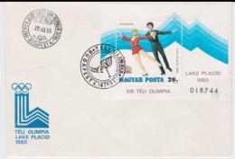 Hungary FDC 1980 Lake Placid Olympic Games Minisheet (NB**LAR6-1) - Winter 1980: Lake Placid