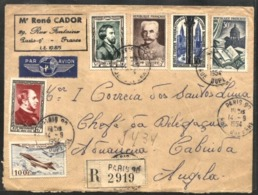 FRANCE, 1954, NICE REGISTERED COVER FROM PARIS TO CABINDA, ANGOLA, VF - Aéreo