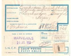 MARVEJOLS Récépissé Expédition Petit Colis SNCF Dest Marseille St Charles 28/7/1953 Réchaud Exp C G E Electricité - Verkehr & Transport