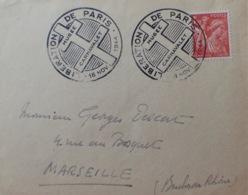 """R1947/258 - TYPE IRIS - N°652 Seul Sur ✉️ - Cachet """" LIBERATION De PARIS - 18 NOV. 1944 - MUSEE CARNAVALET """" - France"""