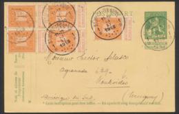 EP Au Type 5ctm Vert Pellens + N°108x5 Expédié De St-Josse-Ten-Noode (1913) Vers Montevidéo (Uruguay). TB - Postcards [1909-34]