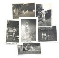 Lot De 6 Photos ( +/- 6 X 9 Cm ) - Jolies Baigneuses En Maillot - HAMOIR, Ourthe 1945 - Femme (B264) - Lieux