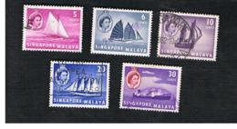 SINGAPORE   -  SG 41.48  -    1955 SHIPS         -  USED ° - Singapur (...-1959)