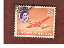 "SINGAPORE   -  SG 47  -    1955 AIRCRAFTS: DOUGLAS ""ARGONAUT""         -  USED ° - Singapur (...-1959)"