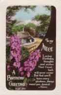 AL77 Greetings - Family Birthday, Niece, Cottage, Flowers - Birthday