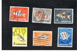 SINGAPORE   -  SG 65.72  -    1962  FISHES      -  USED ° - Singapore (1959-...)