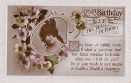AS96 Greetings - 21st Birthday - Girl, Flowers - Birthday
