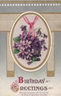 AS96 Greetings - Birthday Greetings - Embossed, Flowers - Birthday