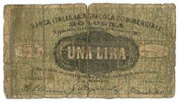 1 LIRA BIGLIETTO FIDUCIARIO BANCA ITALIANA AGRICOLA COMMERCIALE BOLOGNA MB/MB+ - Altri