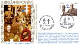 """"""" DE GAULLE : 70 ANS DE L'APPEL DU 18 JUIN 1940 """" Sur Enveloppe 1er Jour De 2010. N° YT 4493. Parfait état. FDC - De Gaulle (General)"""