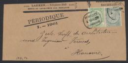 """Fine Barbe - N°56 Et 63 Sur DEVANT De Bande Imprimé Pour Journal """"Le Périodique"""" (11 Port) + Obl Journal Vers Hanovre - 1893-1800 Fijne Baard"""