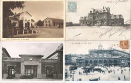 CPA 1350--TRAINS - 4 GARES - Fougerolles - Denain - Denain - Lille  Avec  Belles Animations - Stations Without Trains