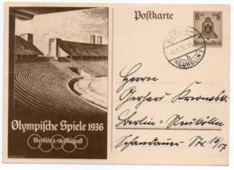 GERMANY THIRD REICH - POSTAL STATIONERY/ENTIER 6+4pf. BERLIN OLYMPICS 1936 / STADIUM / STADION / STADE - Deutschland