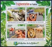 [32153]SUP//**/Mnh-c:18e-BURUNDI 2012 - Fragmentation De L'habitat, Animaux Divers, Rhinocéros, Ours, Dromadaire, Lions - Postzegels