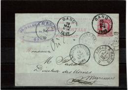 LCTN57/2 - BELGIQUE EP CP GAND MAI 1888 AMBULANT ARRAS A PARIS - Stamped Stationery