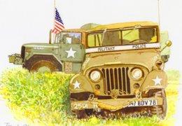 Jeep  -  Military Police  - Aquarelle Par Jean-Luc Marsaud (signée)  - (A4 30x21cms Art Print) - Ausrüstung