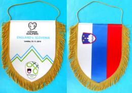 ENGLAND Vs SLOVENIA - 2014. UEFA EURO Qualif. Football Match LARGE MATCH WORN PENNANT Soccer Fussball Calcio Fanion Flag - Apparel, Souvenirs & Other