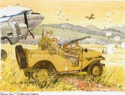 Jeep  -  Avion  -  Parachutists  - Aquarelle Par Jean-Luc Marsaud (signée)  - (A4 30x21cms Art Print) - Ausrüstung