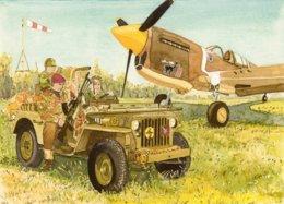 Jeep  -  Avion  Chasseur  - Aquarelle Par Jean-Luc Marsaud (signée)  - (A4 30x21cms Art Print) - Ausrüstung