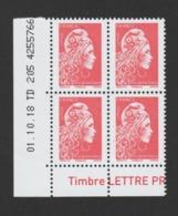 FRANCE / 2018 / Y&T N° 5253 ** : Marianne D'YZ (de Feuille Gommée) TVP LP X 4 - Coin Daté 2018 10 01 - TD 205 - Hoekdatums