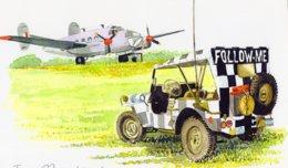 Jeep  -  'Follow Me'  -  Avion    - Aquarelle Par Jean-Luc Marsaud (signée)  - (A4 30x21cms Art Print) - Ausrüstung