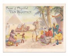 Chromo Van Houten, Egypte, Militaire Et Indigènes, Pyramides, 11 X 14,2 Cm - Van Houten