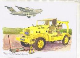 Camion  -  Avion  -   US Air Force   - Aquarelle Par Jean-Luc Marsaud (signée)  - (A4 30x21cms Art Print) - Ausrüstung